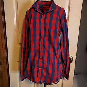 Zara Mens Slim Fit button up shirt Red & Blue XS